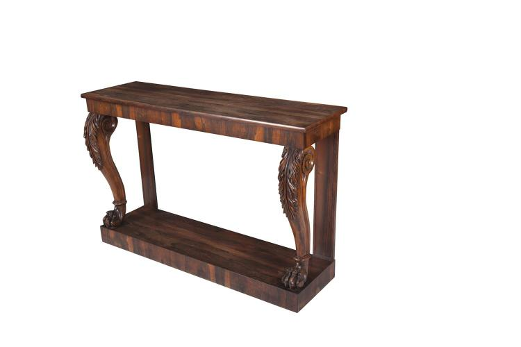 A WILLIAM IV ROSEWOOD CONSOLE TABLE, c.1830, of rectangular form, the moulded top on acanthus carved cabriole supports and plinth base. 139cm wide x 89cm high, 45cm deep