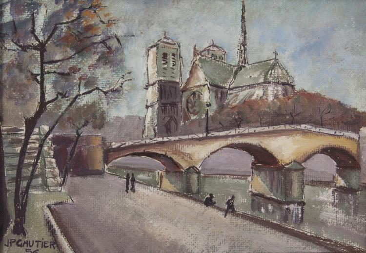 J. P. GAUTIERNotre Dame de ParisOil on canvas board, 22 x 32cmSigned and dated (19)'56