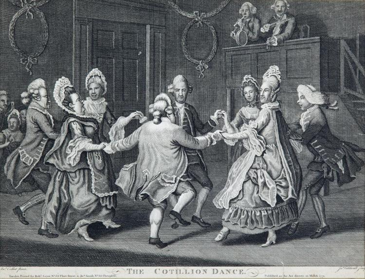 AFTER P. CROTCHET AND J.GOLDAR'Grown Gentlemen Taught to Dance' and 'Grown Ladies Taught to Dance'A pair, steel engravings, 30.5 x 25cm;together with 'The Cotillion Dance'Engraving, 25 x 32.5cm (3)