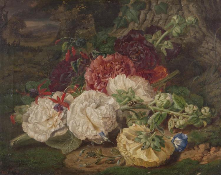 VICTORIAN SCHOOLFloral Study with ChrysanthemumsOil on canvas, 34.5 x 45cm
