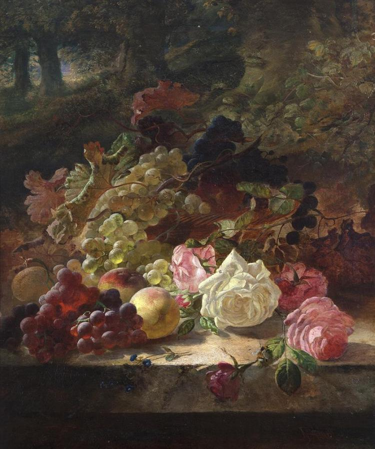 JOSEPH DENOVAN ADAM (1842-1896)Still Life of Fruit and Flowers in Woodland SettingOil on canvas, 60 x 50cmSigned