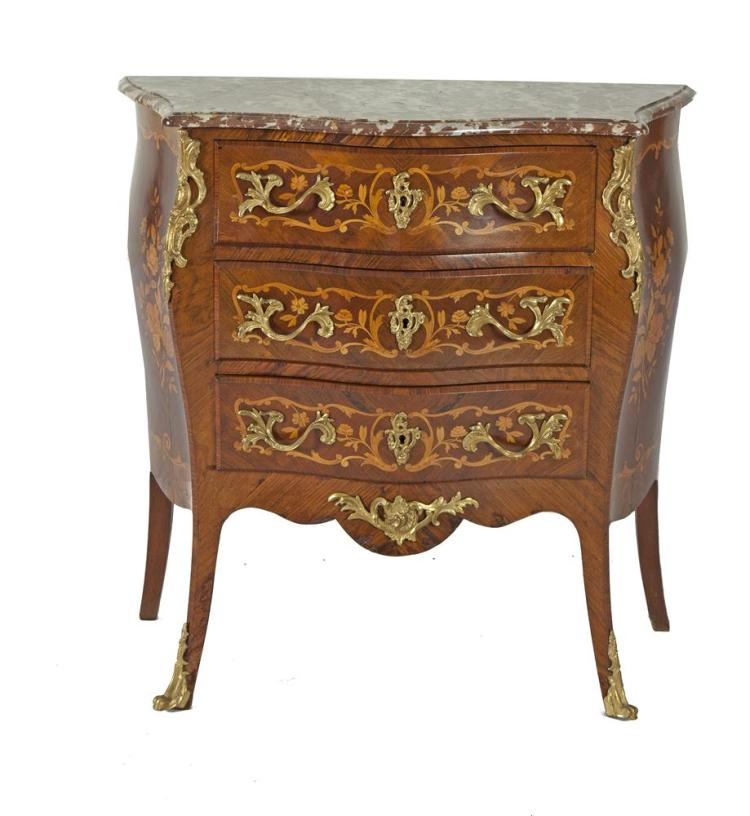 A FRENCH KINGWOOD MARQUETRY THREE DOOR COMMODE WITH MARBLE TOP, of bombé form, having applied brass handles and mounts, decorated with foliate sprays and scroll work, raised on splayed legs with brass feet. 90cm wide x 39cm deep x 90cm high