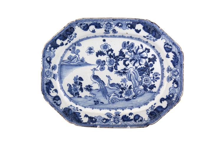 AN IRISH OCTAGONAL DELFTWARE BLUE AND WHITE PLATTER BY HENRY DELAMAIN, 18th century, decorated in a 'two bird' pattern. 40 x 51cm