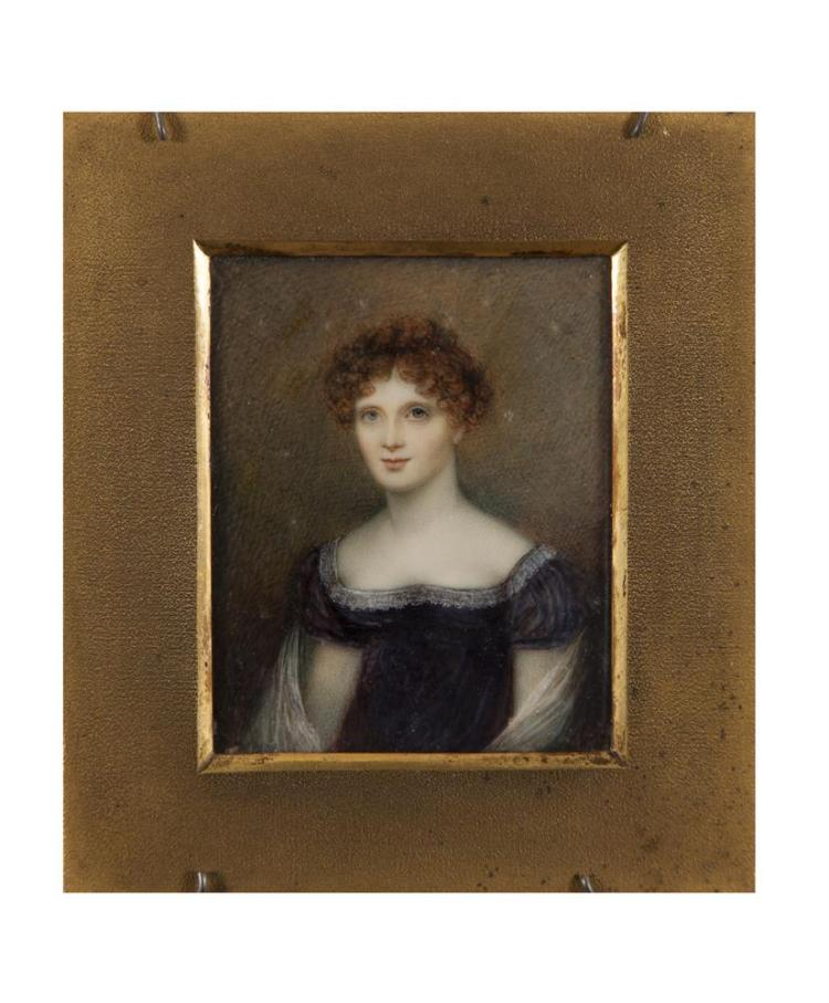 WILLIAM BATE (d.1845)Miniature Portrait of a Young Lady in a Lace Trimmed DressWatercolour on ivory, 8.5 x 6.8cmSigned, inscribed 'Dublin 1819, painted by W. Bate from nature. Painter in enamel to HRH Princess Elizabeth.'