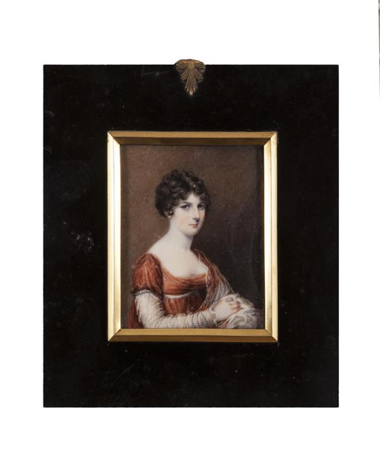IRISH SCHOOL (19TH CENTURY)Miniature Portrait of Mrs. SayersWatercolour on ivory, 9 x 7cm