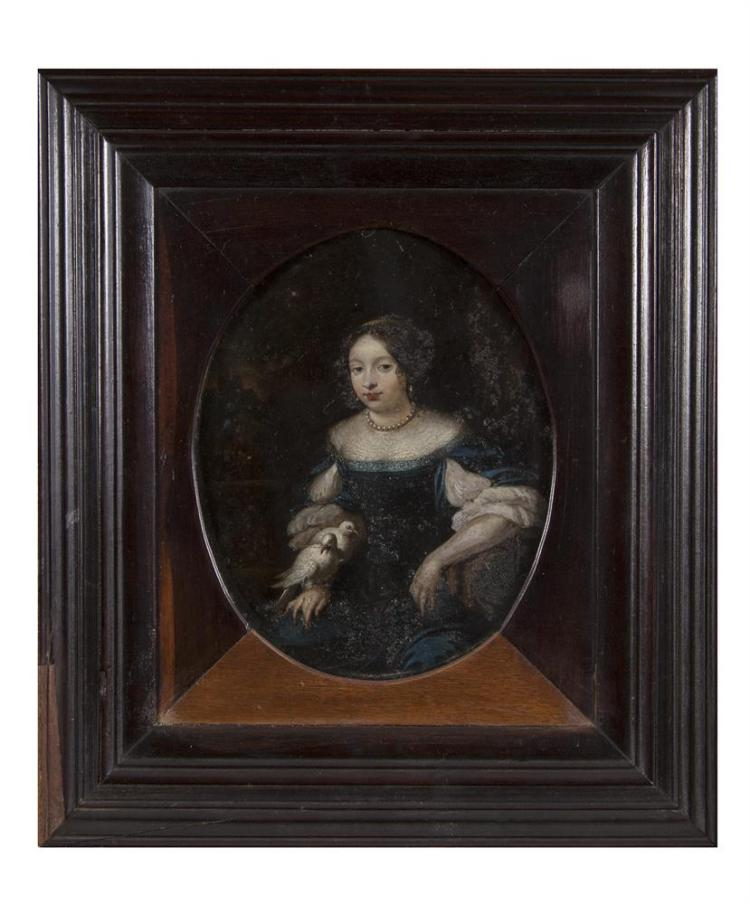 DUTCH SCHOOL (18TH CENTURY)Portrait of a Lady, Seated with Two DovesOval, oil on metal, 13.5 x 10.5cm
