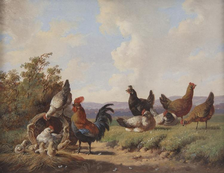 ALBERTUS VERHOESEN (1806-1881)Poultry in a LandscapeOil on panel, 15 x 19.5cmSigned and dated 1879Provenance: With the Boydell Galleries, Liverpool.
