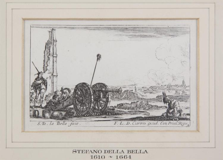 AFTER STEFANO DELLA BELLA (1610-1664) F.L.D. CiartresBattle ScenesEngraving, 9.5 x 15cm. (4)