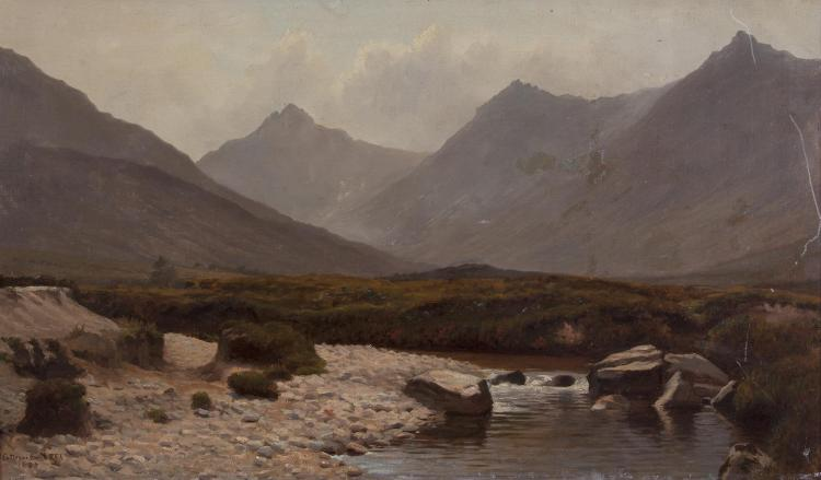 STEPHEN CATTERSON SMITH RHA (1806-1872)West of Ireland LandscapeOil on canvas, 37 x 62.5cmSigned and dated 1885