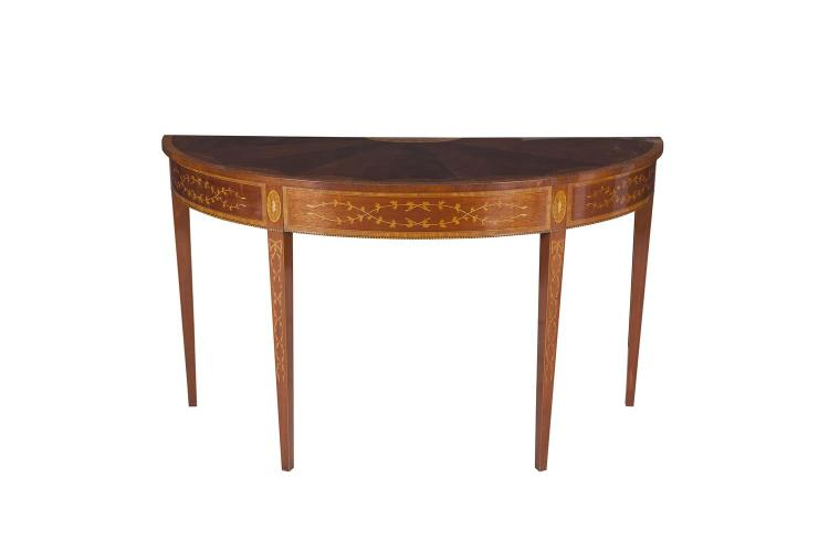 A GEORGIAN STYLE INLAID MAHOGANY SEMI ELLIPTICAL SIDE TABLE, with floral inlay and satinwood crossbanding, raised on square tapering legs. 140cm long x 56cm deep