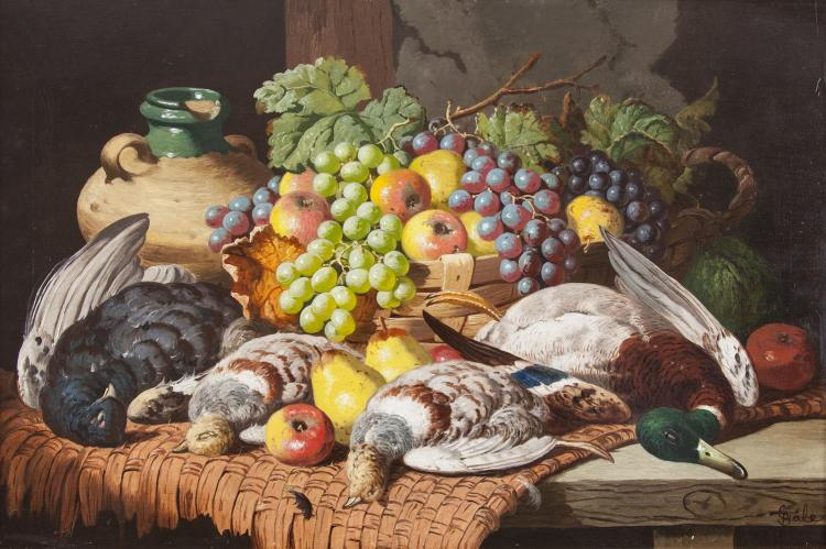 CHARLES THOMAS BALE (FL.1866-1875)Still life with fruit and game on a matted tableOil on canvas, 51 x 76cmSigned lower right