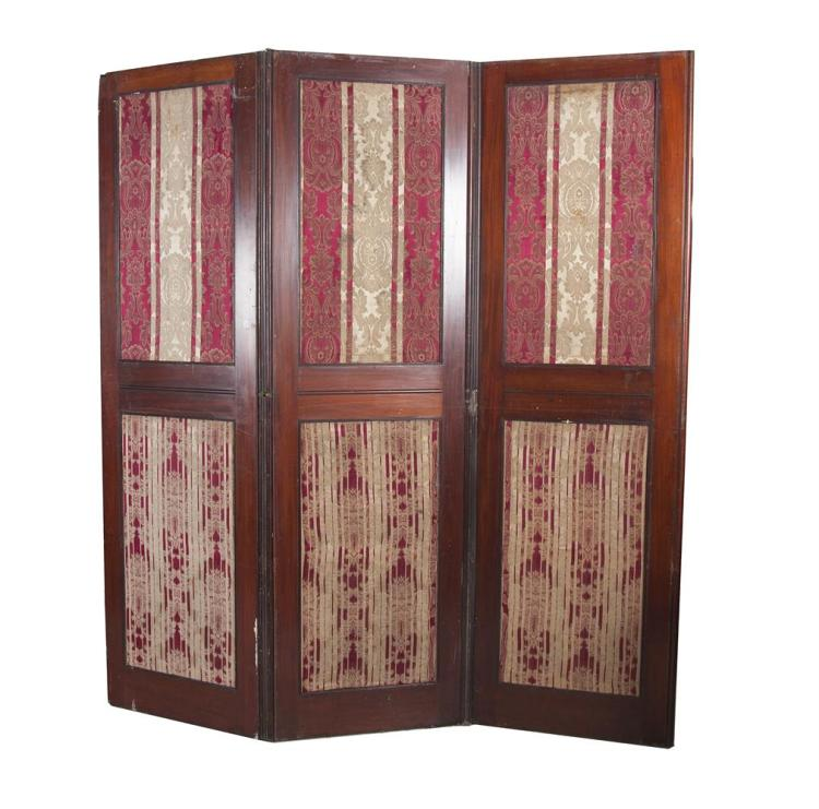 A 19TH CENTURY MAHOGANY FRAMED FOUR-FOLD SCREEN, with inset fabric panels. 63 x 214cm (each panel)