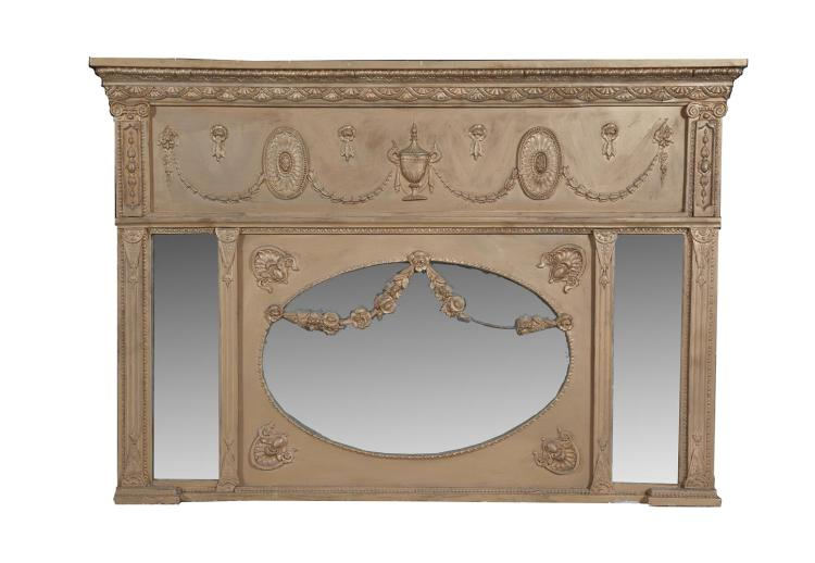A VICTORIAN CARVED WOOD OVERMANTLE MIRROR, the arched top with shell cresting. 127cm wide x 92cm high