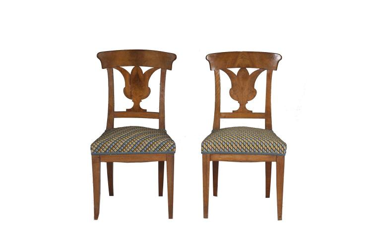 A PAIR OF BIRCHWOOD BIEDERMEIER CHAIRS, 19th century, with urn shaped splat backs