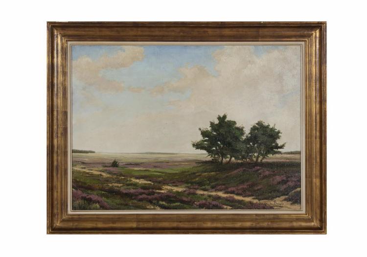 WILLEM JAN VAN DER BERGHEPastoral landscape with HeatherOil on canvas, 64 x 88cmSigned