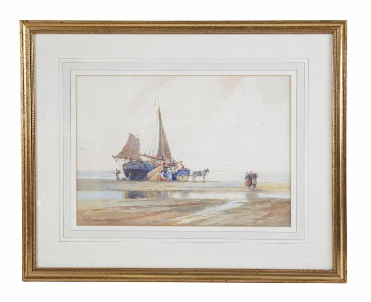 WILLIAM KNOX (1862-1925)Unloading by the ShorelineWatercolour, 27 x 37cmSigned and dated indistinctly