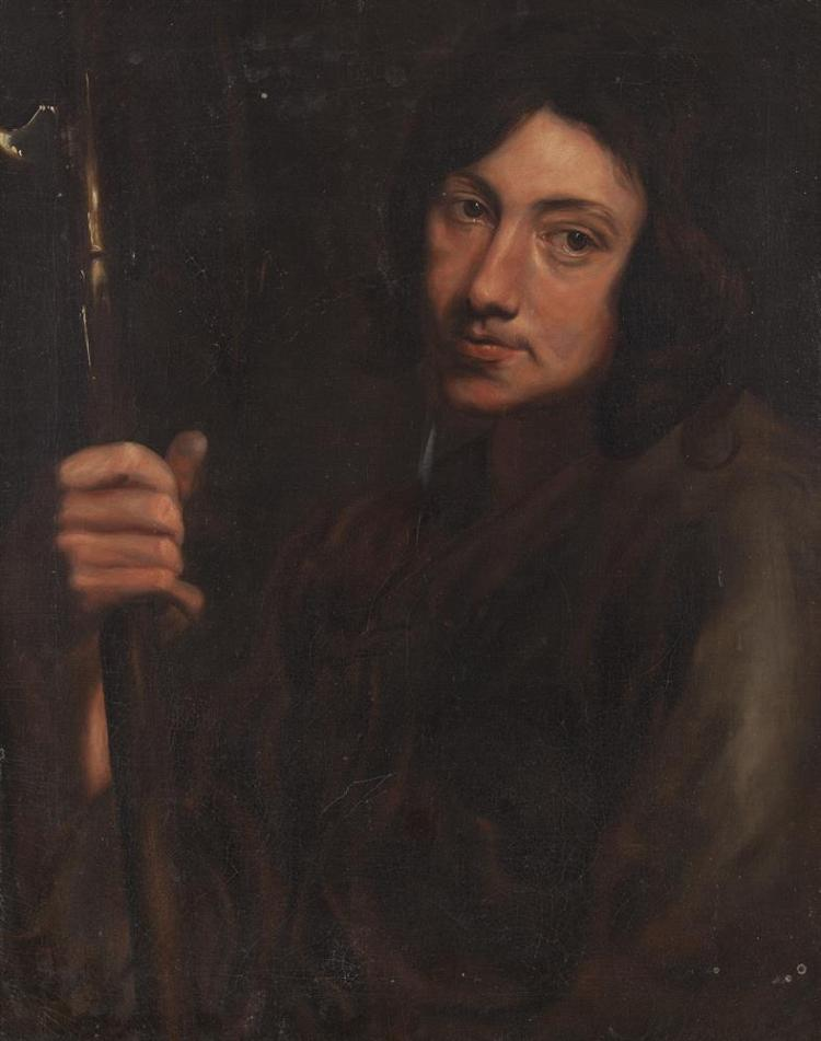 DUTCH SCHOOL (19TH CENTURY)Portrait of a man holding a staffOil on canvas, 62.5 x 48.5cm