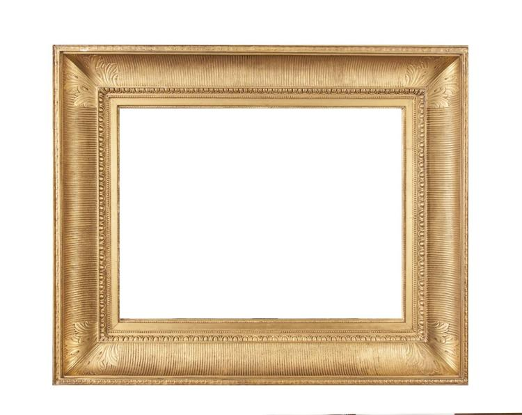 AN EARLY 19TH CENTURY GILTWOOD AND GESSO PICTURE FRAME, the thick reeded border set with palmettes to each corner, and containing rows of diminishing beaded borders. 86 x 105cm overall, 57 x 77cm aperture