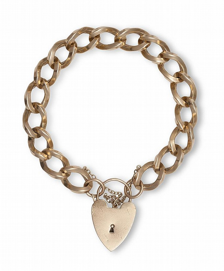 A GOLD BRACELET WITH A HEART-SHAPED PADLOCKThe curb-link bracelet with security chain, with a heart-shaped padlock clasp, mounted in 9K gold, weight approximately 52.8g total