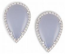 A PAIR OF CHALCEDONY AND DIAMOND EARRINGS, BY MARGHERITA BURGENEREach pear-shaped cabochon chalcedony, within a surround of brilliant-cut diamond pavé-set, mounted in 18K gold, diamonds 0.64ct total, signed Margherita Burgener, with maker's case, le