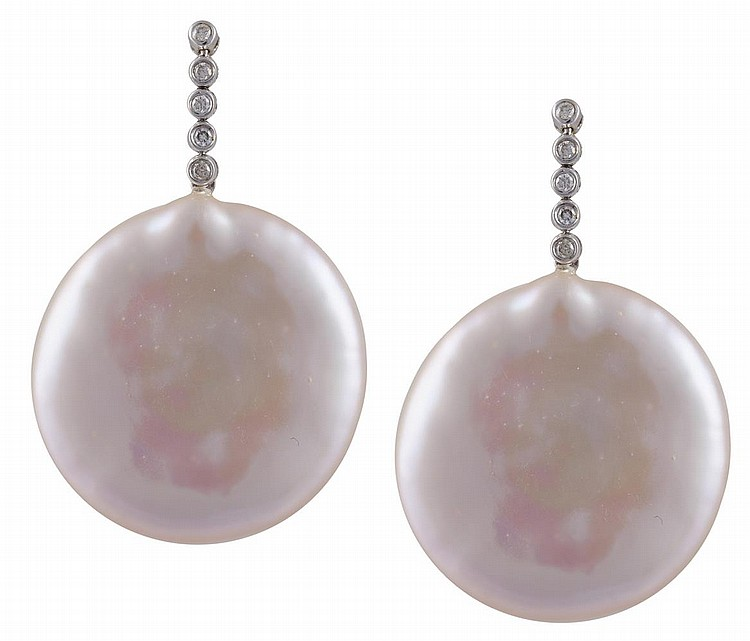 A PAIR OF CULTURED PEARL AND DIAMOND PENDENT EARRINGSEach light pink fresh water cultured pearl designed as a round disc, suspended from an articulated line of round brilliant-cut diamonds in a collet setting, mounted in 18K gold, length 3.5cm