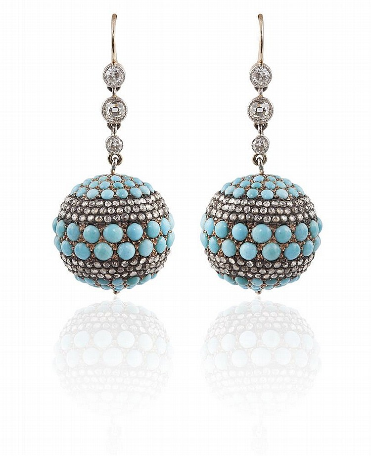 A PAIR OF TURQUOISE AND DIAMOND EARRINGS, CIRCA 1860Each designed as a spherical bead, set with cabochon turquoise, highlighted with rose-cut diamond circumferences, suspended from three old brilliant-cut diamonds, length 4.5cm