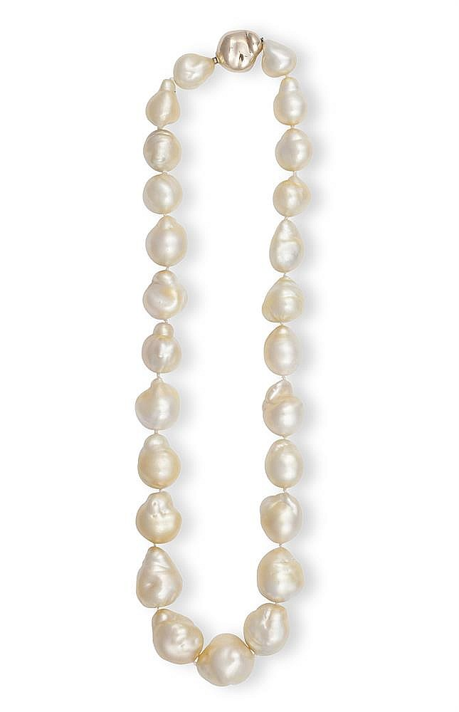 A BAROQUE CULTURED PEARL NECKLACE The graduated row of baroque cultured pearls, measuring approximately 11.9-16.9mm, to a polished clasp mounted in 18K gold, maker's mark, length 46cm