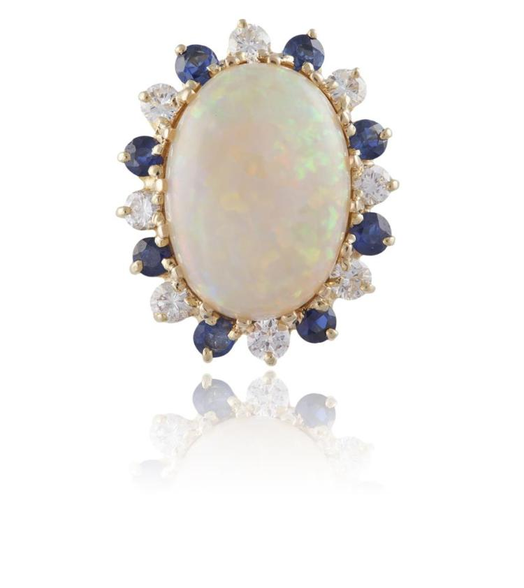 AN OPAL, DIAMOND AND SAPPHIRE CLUSTER RINGThe oval-shaped opal, within a surround of round-shaped diamonds and sapphires, mounted in 18K gold, maker's mark, ring size K