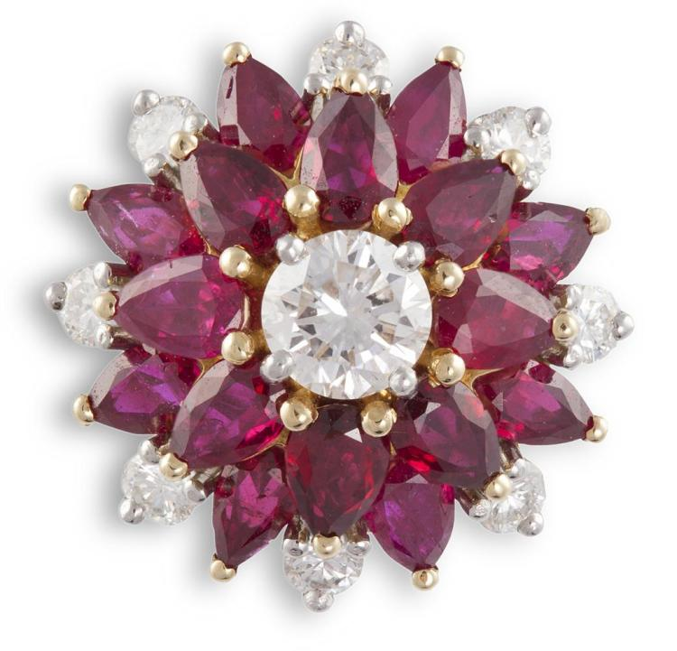 A DIAMOND AND RUBY CLUSTER RINGThe central round brilliant-cut diamond, within two borders of pear-shaped rubies and round brilliant-cut diamond accents, to a trifurcated band, diamonds approximately 0.80ct total, ring size O