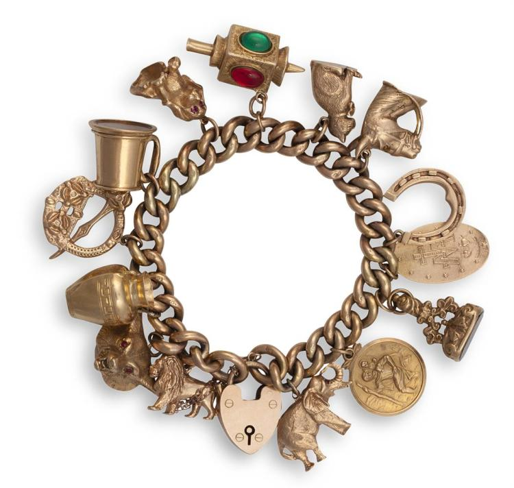A GEM-SET AND GOLD CHARM BRACELETThe curb-link bracelet with security chain, suspending 15 assorted charms, including a heart-locket, an elephant, a cat, a horseshoe, etc...mounted in 9K gold, weight approximately 101g total