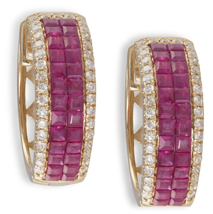 A PAIR OF RUBY AND DIAMOND EARRINGSEach designed with two rows of calibré-cut rubies, within a brilliant-cut diamond pavé-set surround, to an openwork reverse, mounted in 18K gold, length 1.8cm