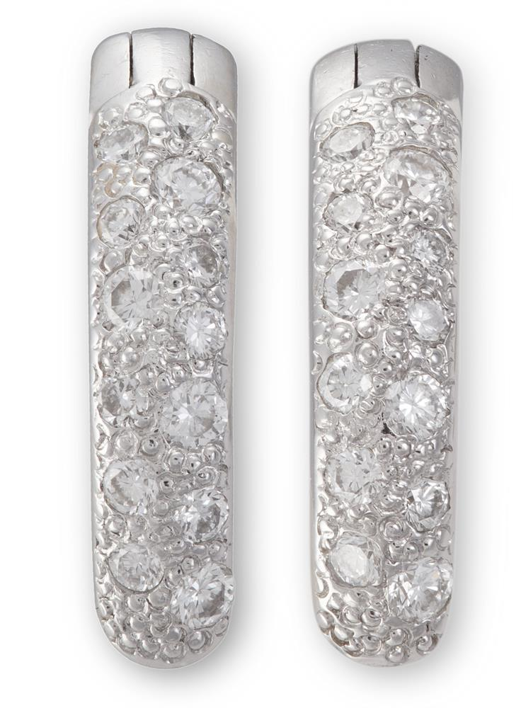 A PAIR OF DIAMOND EARRINGS, BY POMELLATOSet to the front with two rows of diamond pavé-set, mounted in 18K gold, diamonds approximately 0.26ct total, signed Pomellato, numbered C600044822, Italian assay marks, length 1.5cm