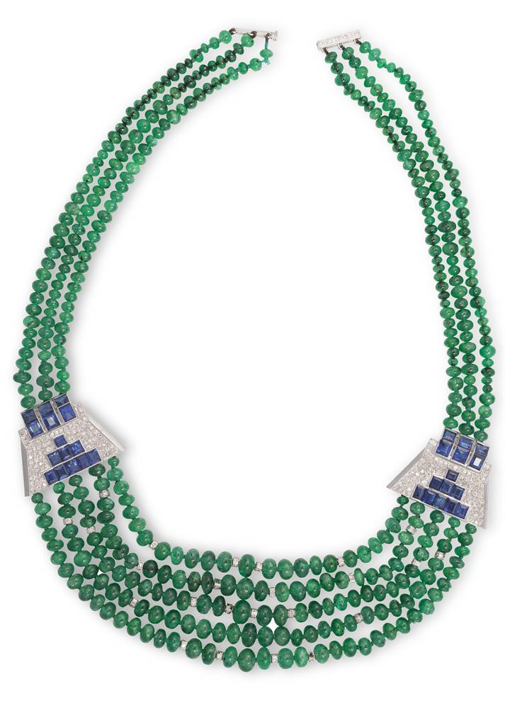 AN EMERALD, SAPPHIRE AND DIAMOND NECKLACEThe emerald graduating beads, strung as a multi-row necklace, interspersed by diamond-set rondels and connected by two art deco style diamond and sapphire plaques, to an 18K gold and diamond clasp, diamonds a