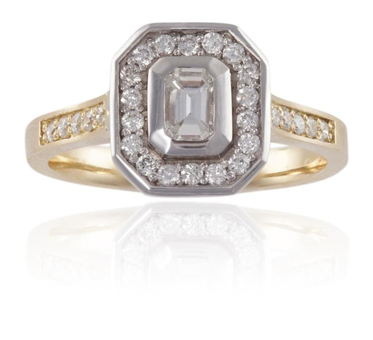 A DIAMOND SINGLE-STONE RING TOGETHER WITH A WEDDING BANDThe emerald-cut diamond, within a surround of single-cut diamonds, mounted in 18K gold, diamonds approximately 0.60ct, ring size M; Together with a plain gold hoop with scrolling motifs, mounte