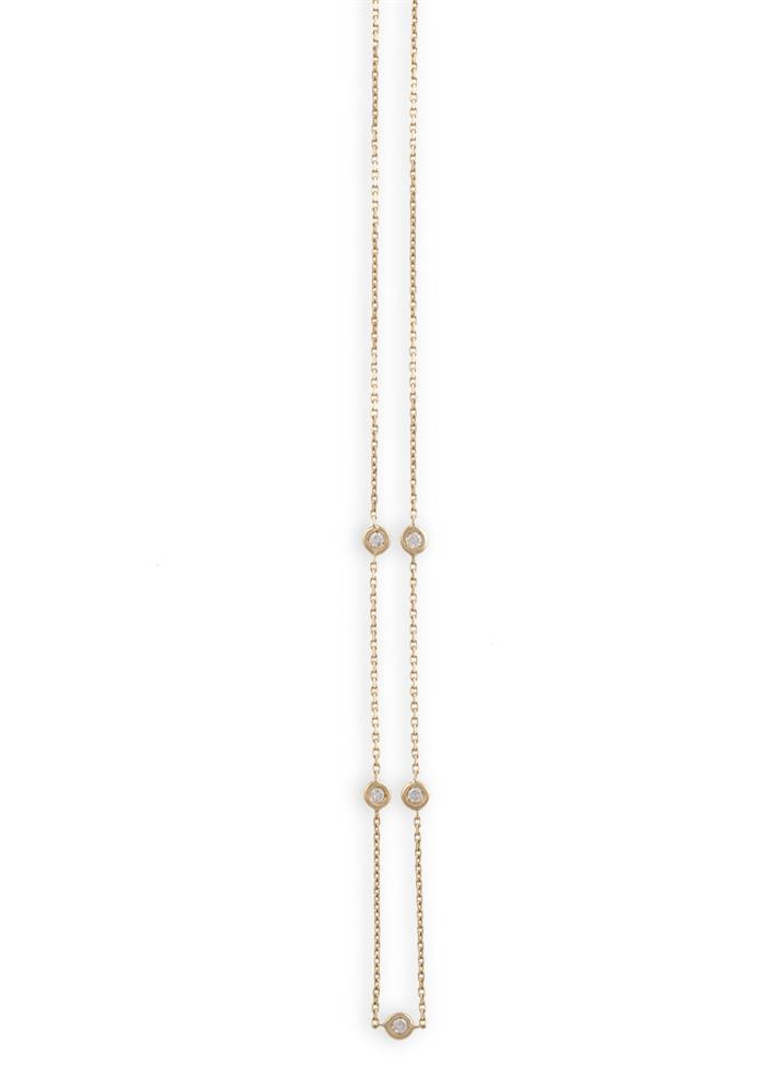 A DIAMOND NECKLACEThe fine trace-link chain highlighted by collet-set round brilliant-cut diamonds, mounted in 18K gold, diamonds approximately 0.25ct total, length 42cm