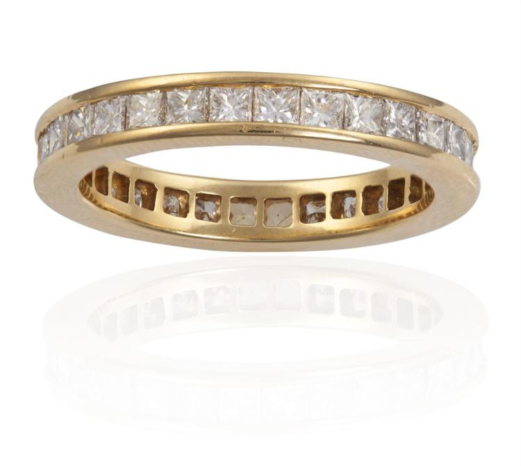 A DIAMOND ETERNITY RING, BY ALEXANDRE REZAComposed of a continuous row of princess-cut diamonds, within a channel setting, mounted in 18K gold, diamonds approximately 2.30cts total, with maker's mark, French assay mark, ring size L, with maker's cas