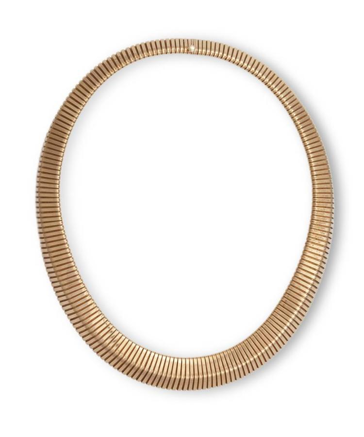 A GAS-PIPE NECKLACEOf gas-pipe design, mounted in 14K gold, length approximately 40cm