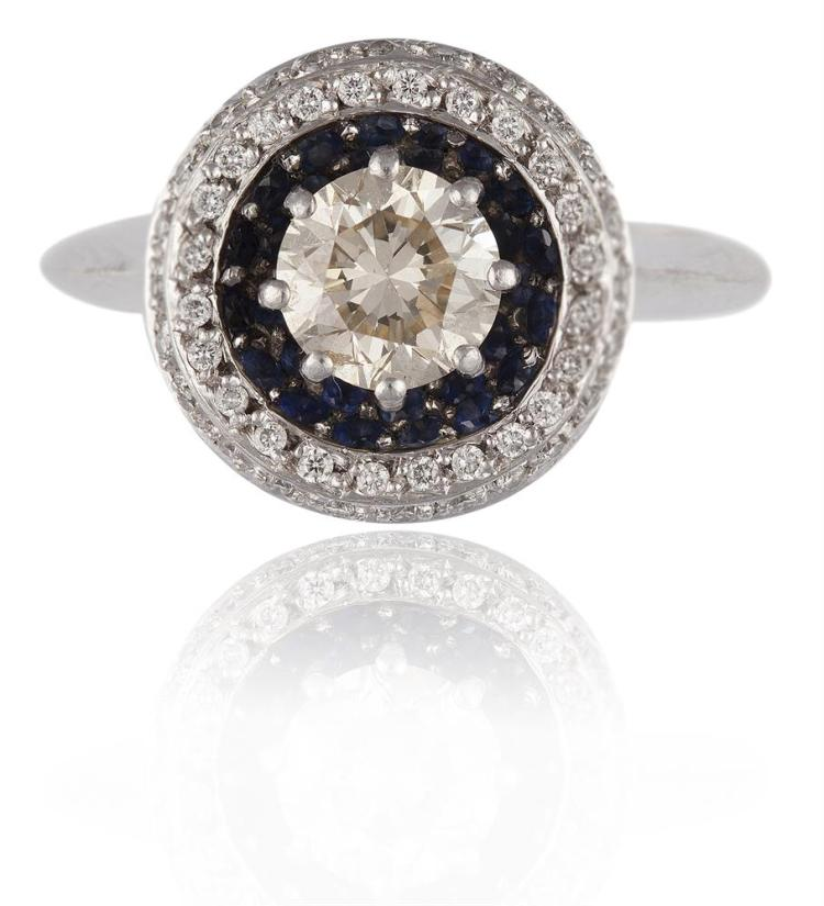 A DIAMOND AND SAPPHIRE DRESS RINGThe round brilliant-cut diamond to the centre, weighing approximately 0.80ct, within a surround of circular-cut blue sapphires and a double border of round brilliant-cut diamonds, to gallery of similarly-cut diamonds