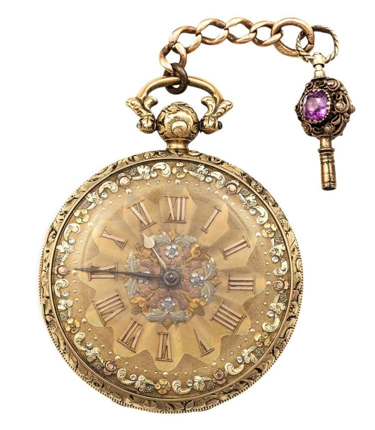 A GEORGE IV FULL HUNTER 18K GOLD POCKET WATCH, CIRCA 1810The face chased with border of flowers on engine turned background, worked in four shades of gold, the case chased with foliate banding, the key winder set with a circular-cut amethyst and rou