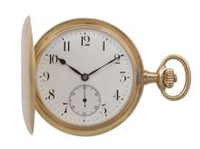 AN 18K GOLD CASE FULL HUNTER POCKET WATCH, BY OMEGAThe white enamel dial with black Arabic numerals and seconds subsidiary dial, sapphire coloured hands, mounted in 18K gold, case numbered 3826345, case and movement signed Omega