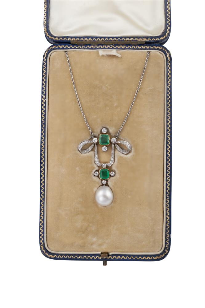 A BELLE EPOQUE NATURAL PEARL, EMERALD AND DIAMOND PENDANT NECKLACEThe pendant designed as a looped ribbon with old brilliant-cut diamonds throughout, set with a pair of step-cut emeralds, each within four similarly-cut diamond accents, suspending a