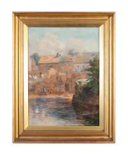 MARY GEORGINA BARTON (1861-1949)Houses by waterside Watercolour, 62 x 44cm