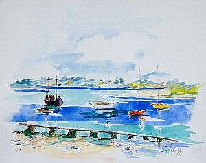 Joyce Duff Harbour Scenes Watercolour, a pair,