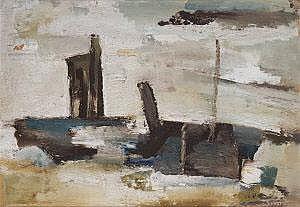 Frans Minnaert (b.1929) Maritime Abstract Oil on