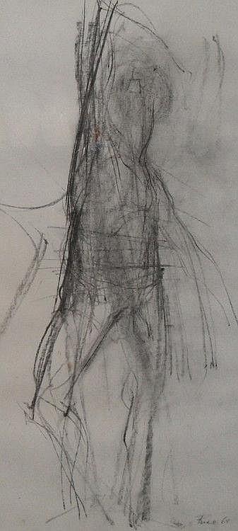 Sean Rice (1931-1997), charcoal study