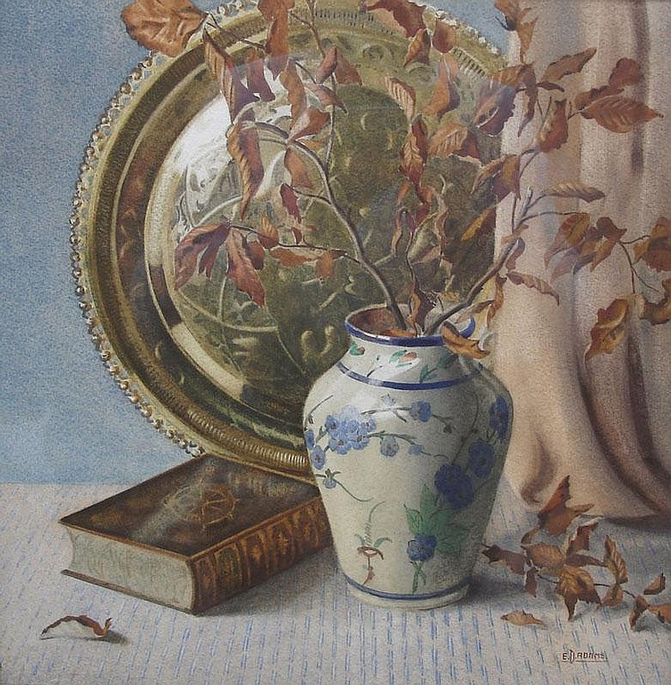 E D Adams (1884-1963); watercolour, still life