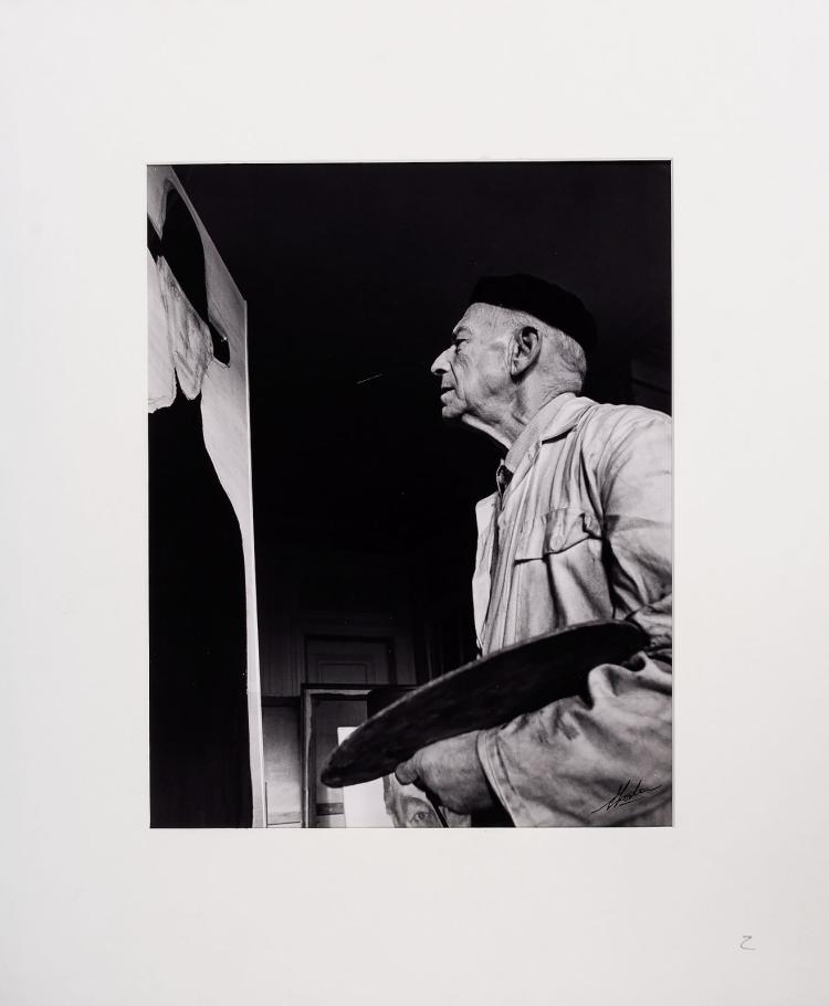 Paul Citroen in his studio, signed silver print by Nico Koster