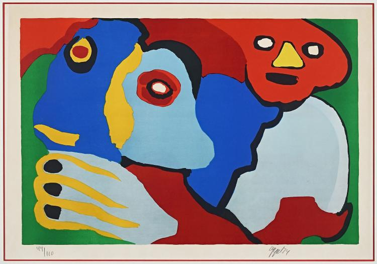 Sunshine people, king size lithograph by Karel Appel