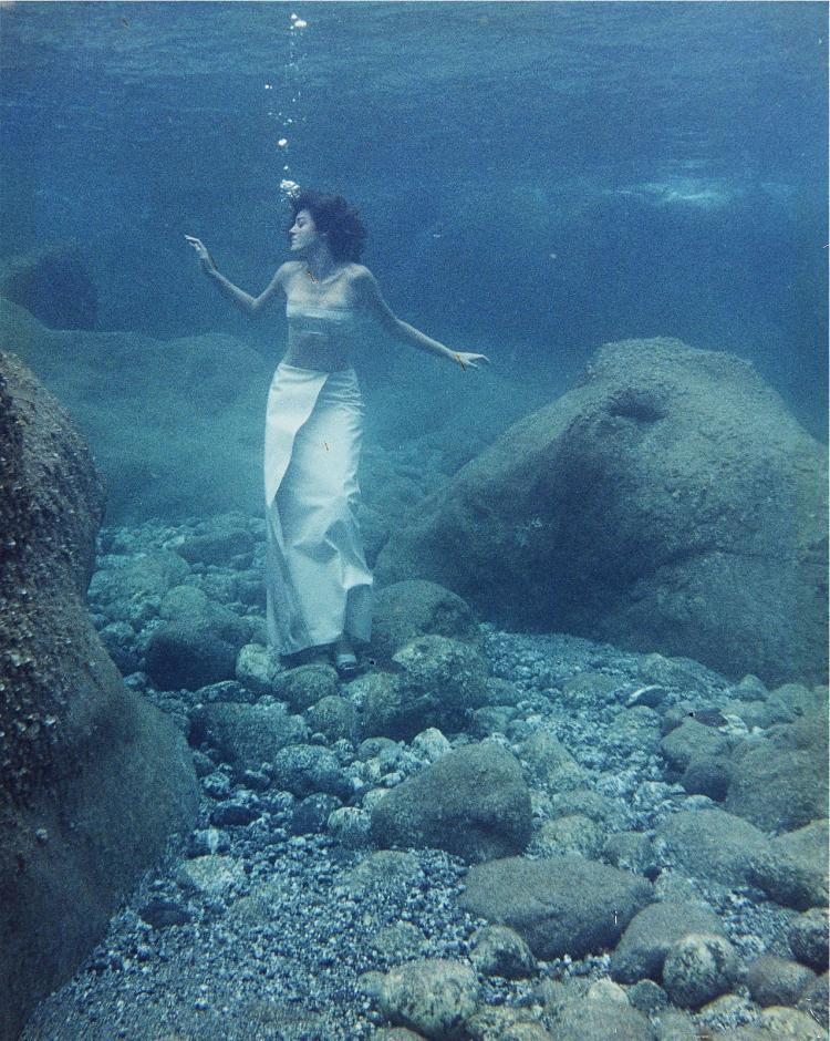 Video still of Maura Biava's underwater character Doride