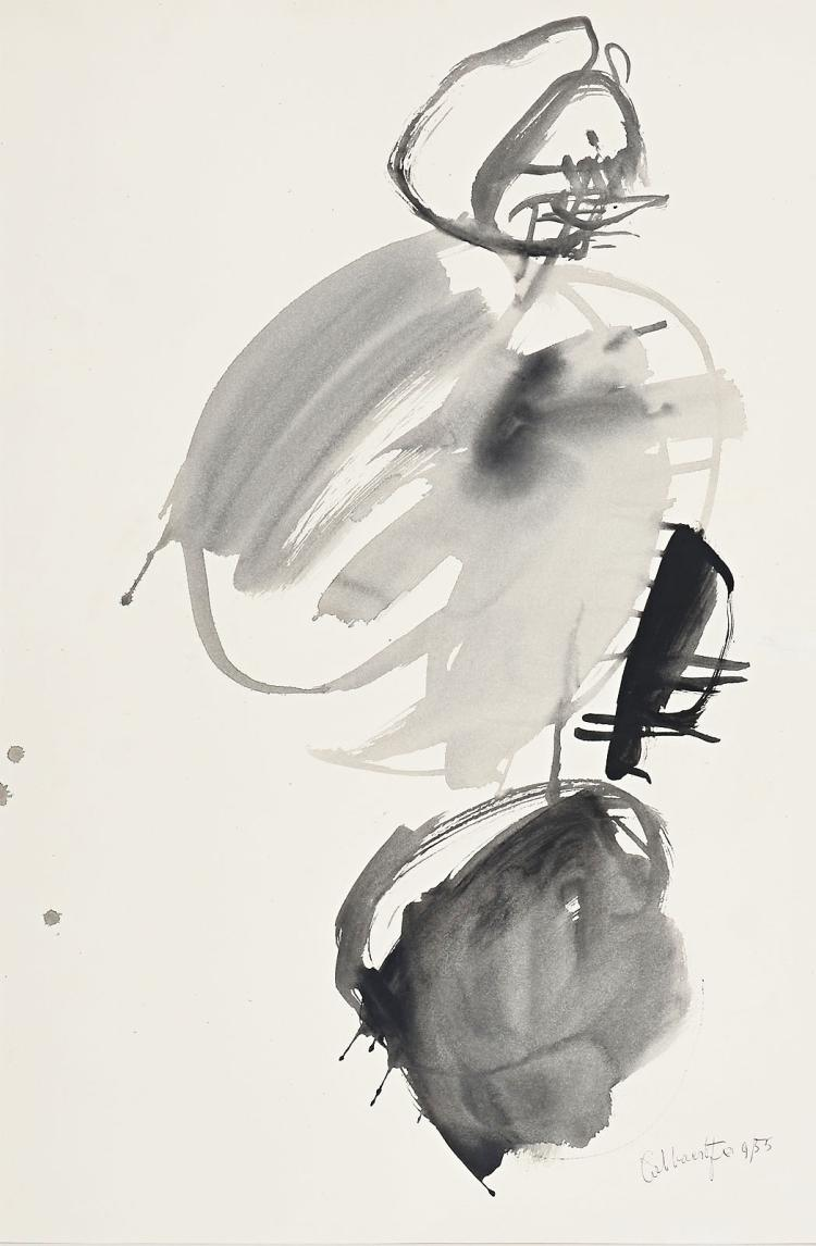 Characteristic work on paper from the fifties by Jan Cobbaert